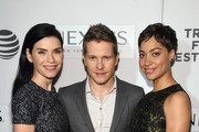 """(L-R) Actors Julianna Margulies, Matt Czuchry, and Cush Jumbo attend """"The Good Wife"""" Screening during the 2016 Tribeca Film Festival at John Zuccotti Theater at BMCC Tribeca Performing Arts Center on April 17, 2016 in New York City."""
