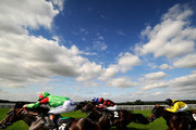 Paul Hanagan riding Sejalaat (blue) win the Reheat Nursery Stakes at Goodwood racecourse on September 04, 2012 in Chichester, England.