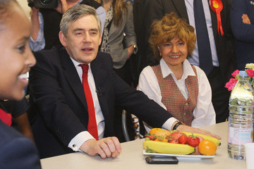 Prunella Scales Gordon Brown Campaigns In Constituencies Across London