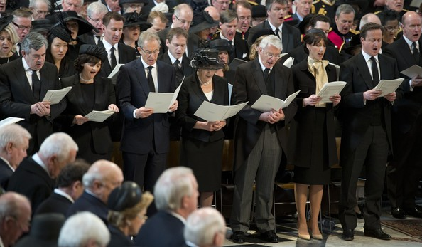Ceremonial Funeral Service for Margaret Thatcher 23 [baroness margaret thatcher,david cameron,philip,samantha,elizabeth ii,prime minister,event,choir,crowd,audience,music,british,ceremonial funeral of former,st pauls cathedral,funeral]