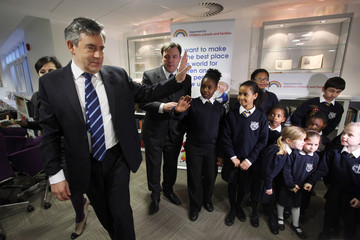 Gordon Brown Ed Balls Gordon Brown Discusses Educational Issues With Pupils And Teachers