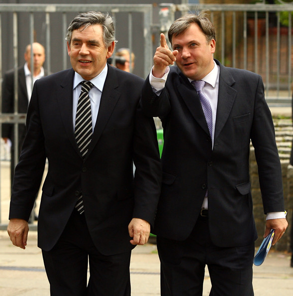 Prime Minister Gordon Brown and Schools Secretary Ed Balls arrive at the Acland Burghley School to attend a meeting of the National Council for Education Excellence on July 16, 2009 in London, England. Mr Brown and Mr Balls will discuss progress in the NCEE's recommendations on schools and college links with businesses and higher education institutions.
