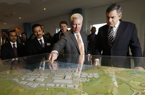 Gordon Brown Visits The Site In Thurrock Which Holds The New DP World Port