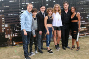 "(L-R) Actors Ben McKenzie, David Mazouz, Robin Lord Taylor, Camren Bicondova, Erin Richards, Donal Logue, and Jada Pinkett Smith attend ""Gotham"" Zip Line during Comic-Con International 2014 on July 26, 2014 in San Diego, California."