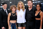 "(L-R) Actors Robin Lord Taylor, Camren Bicondova, Erin Richards, Donal Logue, and Jada Pinkett Smith attend ""Gotham"" Zip Line during Comic-Con International 2014 on July 26, 2014 in San Diego, California."