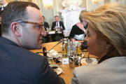 Health Minister Jens Spahn (CDU, L) and Defense Minister Ursula von der Leyen (CDU) attend a government retreat at Schloss Meseberg on April 10, 2018 in Gransee, Germany. The government Cabinet is meeting at Schloss Meseberg for a two-day retreat, primarily to discuss trade on domestic, European Union, and wider international levels.