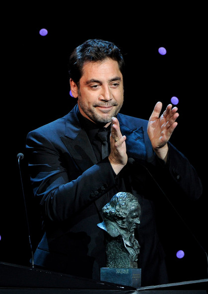 "Spanish actor Javier Bardem receives the  Best Actor Goya Award for the film ""Biutiful"" during the Goya cinema Awards 2011 ceremony at the Royal Theater on February 13, 2011 in Madrid, Spain."