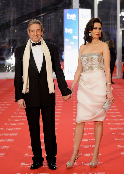 "Spanish actor Juanjo Puigcorbe and wife Lola Marceli arrive to the 2011 edition of the ""Goya Cinema Awards"" ceremony at Teatro Real on February 13, 2011 in Madrid, Spain."