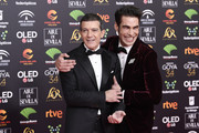 Antonio Banderas and Jon Kortajarena attend the Goya Cinema Awards 2020 during the 34th edition of the Goya Cinema Awards at Jose Maria Martin Carpena Sports Palace on January 25, 2020 in Malaga, Spain.