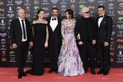 (L-R) Bertin Almodovar, Nora Navas, Leonardo Sbaraglia, Penelope Cruz and Antonio Banderas attends the Goya Cinema Awards 2020 during the 34th edition of the Goya Cinema Awards at Jose Maria Martin Carpena Sports Palace on January 25, 2020 in Malaga, Spain.