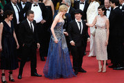 """(L-R) Actors Jeanne Balibar, Tim Roth, director Olivier Dahan and Paz Vega attend the Opening ceremony and the """"Grace of Monaco"""" Premiere during the 67th Annual Cannes Film Festival on May 14, 2014 in Cannes, France."""
