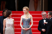 """(L-R) Actresses Paz Vega, Nicole Kidman, Cannes Film Festival Director Thierry Fremaux and actor Tim Roth attend the Opening ceremony and the """"Grace of Monaco"""" Premiere during the 67th Annual Cannes Film Festival on May 14, 2014 in Cannes, France."""