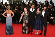 """(L-R) Actors Lea Seydoux, Camille Lellouche, Denis Menochet, director Rebecca Zlotowski and actor Tahar Rahim attends """"Jimmy P. (Psychotherapy Of A Plains Indian)"""" Premiere during the 66th Annual Cannes Film Festival at Grand Theatre Lumiere on May 18, 2013 in Cannes, France."""