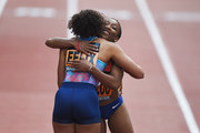 Marie Josee Ta Lou of Ivory Coast hugs Allyson Felix of the United States after winning the Women's 150m during the Great City Games on May 18, 2018 in Manchester, England.