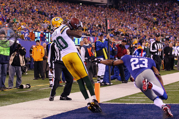 Corey Webster Donald Driver Green Bay Packers v New York Giants