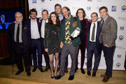 Actor Rachel Weisz, Director Luca Guadagnino and the cast of Call Me by Your Name pose with the Best Feature Film award in the GreenSlate Greenroom during The 2017 IFP Gotham Independent Film Awards at Cipriani Wall Street on November 27, 2017 in New York City.