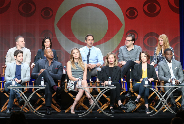 2015 Summer TCA Tour - Day 14 [social group,team,event,performance,talent show,competition,vehicle,stage,executive producers,chief creative officer,actors,geoff johns,l-r,back row,front row,portion,dc entertainment,summer tca]