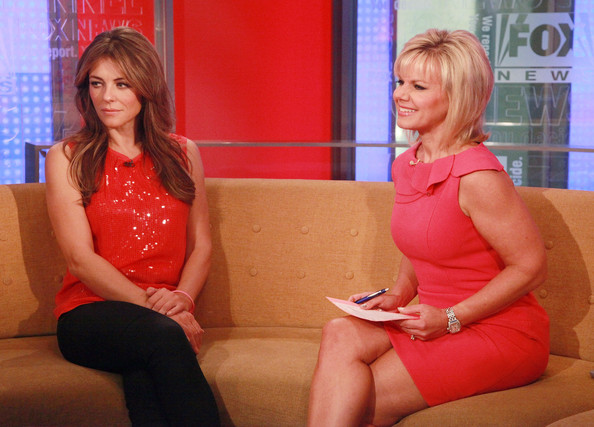 Gretchen Carlson L R Actress Elizabeth Hurley And Host