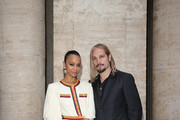 Zoe Saldana and Marco Perego arrive at the Gucci Cruise 2020 at Musei Capitolini on May 28, 2019 in Rome, Italy.