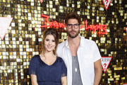 (L-R) Amanda Cerny and Nick Bateman at the Guess Spring 2018 Campaign Reveal starring Jennifer Lopez on January 31, 2018 in Los Angeles, California.