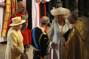 (L-R) Queen Elizabeth II, Prince Philip, Duke of Edinburgh, Prince Charles, Prince of Wales and Camilla, Duchess of Cornwall arrive to meet the John Hall, Dean of Westminster for the Royal Wedding of Prince William to Catherine Middleton at Westminster Abbey on April 29, 2011 in London, England. The marriage of Prince William, the second in line to the British throne, to Catherine Middleton is being held in London today. The Archbishop of Canterbury will conduct the service which will be attended by 1900 guests, including foreign Royal family members and heads of state. Thousands of well-wishers from around the world have also flocked to London to witness the spectacle and pageantry of the Royal Wedding and street parties are being held throughout the UK.