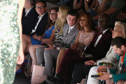 Klaus Wowereit (L-R), Frank Mutters, Vicky Leandros, Tanja Buelter, Paul Henry Duval, Valerie Campbell, Papis Loveday, Ute Ohoven and Manuel Cortez attend the Guido Maria Kretschmar show during Mercedes-Benz Fashion Week Spring/Summer 2014 at Brandenburg Gate on July 3, 2013 in Berlin, Germany.