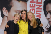 (L-R) Yoran Leicher, Nora Tschirner and Katharina Gieron attend the world premiere of the movie 'Gut gegen Nordwind' at Cinedom on September 03, 2019 in Cologne, Germany.