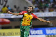 In this handout image provided by CPL T20, Imran Tahir of Guyana Amazon Warriors celebrates the dismissal of Andre Fletcher of St Lucia Stars during match 4 of the Hero Caribbean Premier League between Guyana Amazon Warriors and St Lucia Stars at Guyana National Stadium on August 11, 2018 in Providence, Guyana.