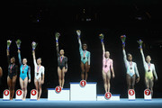 (L-R) Trinity Thomas (8th), Jade Carey (6th), Grace McCallum (4th), Morgan Hurd (silver), Simone Biles (gold), Riley McCusker (bronze), Shilese Jones (5th), and Kara Eaker (7th) pose during the Women's Senior All-Around medal ceremony on day four of the U.S. Gymnastics Championships 2018 at TD Garden on August 19, 2018 in Boston, Massachusetts.