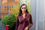 Image has been digitally retouched) Irina Shayk is pictured during the Milan Fashion Week on September 23, 2020 in Milan, Italy.