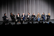 (L-R) Cast members Samuel L. Jackson, Michael Madsen, Bruce Dern, Walton Goggins, Tim Roth, Kurt Russell, Demian Bichir and Jennifer Jason Leigh attend the Hateful Eight SAG Screening and Q&A at the Pacific Design Center on December 5, 2015 in West Hollywood, California.