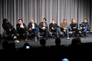 (L-R) Cast members Samuel L. Jackson, Michael Madsen, Bruce Dern, Walton Goggins, Tim Roth, Kurt Russell, Jennifer Jason Leigh and Demian Bichir attend the Hateful Eight SAG Screening and Q&A at the Pacific Design Center on December 5, 2015 in West Hollywood, California.
