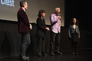 """(L-R) DOC NYC Artistic Director Thom Powers, Producer Daphne Pinkerson, Director Marc Levin, and film subject Rosa take part in a Q&A following the HBO Documentary Film """"Class Divide"""" screening during DOC NYC at SVA Theater on November 15, 2015 in New York City."""