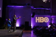 Lil Rel Howery and family speak onstage during HBO's Lil Rel Comedy Special Screening, Panel and Reception at NeueHouse Hollywood on November 21, 2019 in Los Angeles, California.