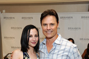 Actors Heather McComb and Dylan Neal attend the HBO Luxury Lounge featuring PANDORA at Four Seasons Hotel Los Angeles at Beverly Hills on August 23, 2014 in Beverly Hills, California.