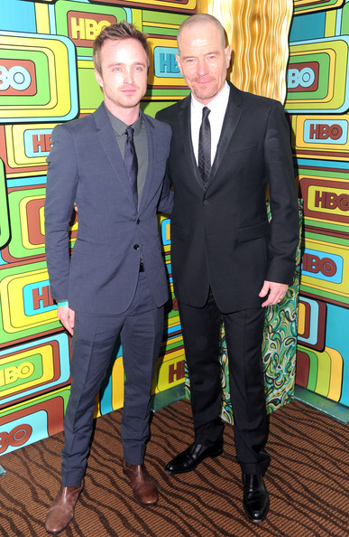 Actors Bryan Cranston (L) and  Aaron Paul  attends HBO's Post 2011 Golden Globe Awards Party held at The Beverly Hilton hotel on January 16, 2011 in Beverly Hills, California.