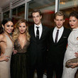 She double dates with Vanessa Hudgens and Austin Butler.