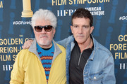 Pedro Almodovar and Antonio Banderas attend the HFPA's 2020 Golden Globes Awards Best Motion Picture - Foreign Language Symposium at the Egyptian Theatre on January 04, 2020 in Hollywood, California.