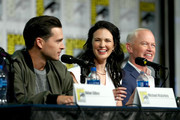 (L-R) Michael Malarkey, Laura Mennell and Neal McDonough attend HISTORY's Project Blue Book SDCC Panel 2019 at Hilton San Diego Bayfront Hotel on July 20, 2019 in San Diego, California.