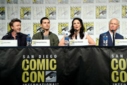 (L-R) Aidan Gillen, Michael Malarkey, Laura Mennell and Neal McDonough attend HISTORY's Project Blue Book SDCC Panel 2019 at Hilton San Diego Bayfront Hotel on July 20, 2019 in San Diego, California.