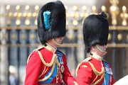 Prince William, Duke of Cambridge and Prince Andrew, Duke of York during Trooping The Colour on the Mall on June 9, 2018 in London, England. The annual ceremony involving over 1400 guardsmen and cavalry, is believed to have first been performed during the reign of King Charles II. The parade marks the official birthday of the Sovereign, even though the Queen's actual birthday is on April 21st.