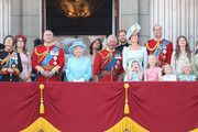 Princess Anne, Princess Royal, Princess Beatrice, Lady Louise Windsor,  Prince Andrew, Duke of York, Queen Elizabeth II, Meghan, Duchess of Sussex, Prince Charles, Prince of Wales, Prince Harry, Duke of Sussex, Catherine, Duchess of Cambridge, Prince William, Duke of Cambridge, Princess Charlotte of Cambridge, Savannah Phillips, Prince George of Cambridge and Isla Phillips watch the flypast on the balcony of Buckingham Palace during Trooping The Colour on June 9, 2018 in London, England. The annual ceremony involving over 1400 guardsmen and cavalry, is believed to have first been performed during the reign of King Charles II. The parade marks the official birthday of the Sovereign, even though the Queen's actual birthday is on April 21st.