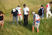 Alvaro Quiros of Spain and Edoardo Molinari of Italy look for the balls in the rough on the 10th fairway during Day One of the HNA Open de France at Le Golf National on June 28, 2018 in Paris, France.
