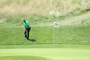 Alvaro Quiros of Spain chips onto the 1st green during day three of the HNA Open de France at Le Golf National on June 30, 2018 in Paris, France.
