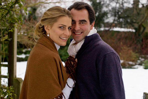 In this handout image provided by the Greek  Royal   Family, Prince Nikolaos of Greece (R) and his fiance Ms. Tatiana    Blatnik pose following the official announcement of their engagement.