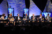 (L-R) Kim Masters, Leigh Brecheen, Paul Lee, Steve Mosko, Chris Silbermann, Kevin Reilly and Tim Spengler attend the HRTS and Academy of TV & Sciences 'State of the Industry' newsmaker luncheon at The Beverly Hilton on June 23, 2010 in Beverly Hills, California.