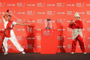 (L-R) Suzann Pettersen of Norway and Inbee Park of South Korea strike a pose by the trophy during a photocall at the Fairmont Hotel prior to the start of the 2014 HSBC Women's Champions on February 25, 2014 in Singapore, Singapore.