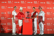 (L-R) Paula Creamer of the USA, Inbee Park of South Korea, Suzann Pettersen of Norway and Shanshan Feng of China pose next to the trophy during a photocall at the Fairmont Hotel prior to the start of the 2014 HSBC Women's Champions on February 25, 2014 in Singapore, Singapore.