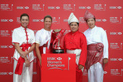 (L-R) Paula Creamer of the USA, Suzann Pettersen of Norway, Inbee Park of South Korea and Shanshan Feng of China pose with the trophy during a photocall at the Fairmont Hotel prior to the start of the 2014 HSBC Women's Champions on February 25, 2014 in Singapore, Singapore.