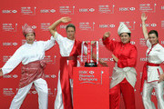 (L-R) Shanshan Feng of China, Suzann Pettersen of Norway, Inbee Park of South Korea and Paula Creamer of the USA strike a pose next to the trophy during a photocall at the Fairmont Hotel prior to the start of the 2014 HSBC Women's Champions on February 25, 2014 in Singapore, Singapore.